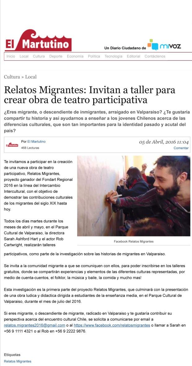 Relatos Migrantes: Invitan a taller para crear obra de teatro pa